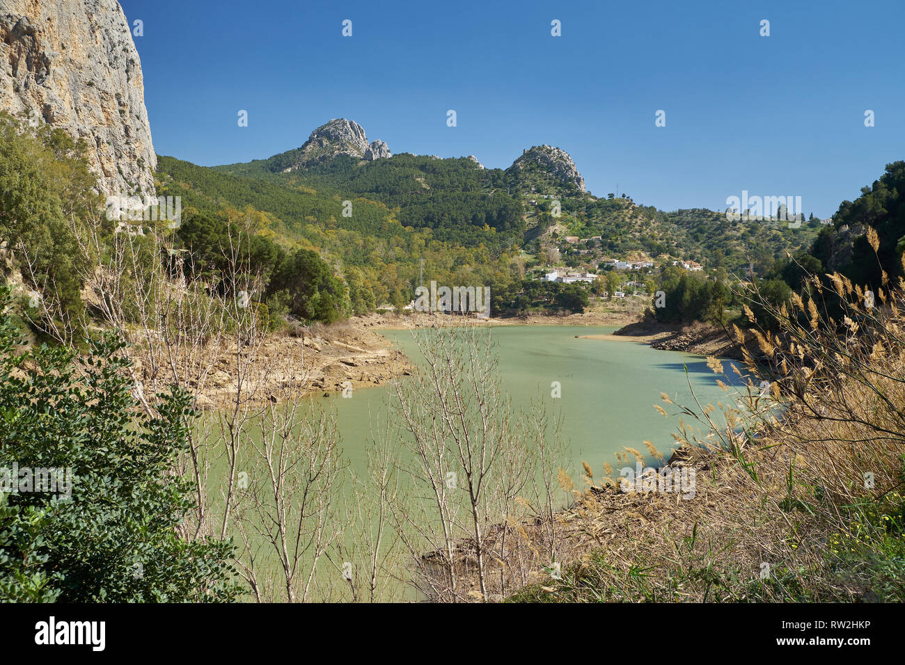 River Guadalhorce at El Chorro. Málaga, Spain. Stock Photo