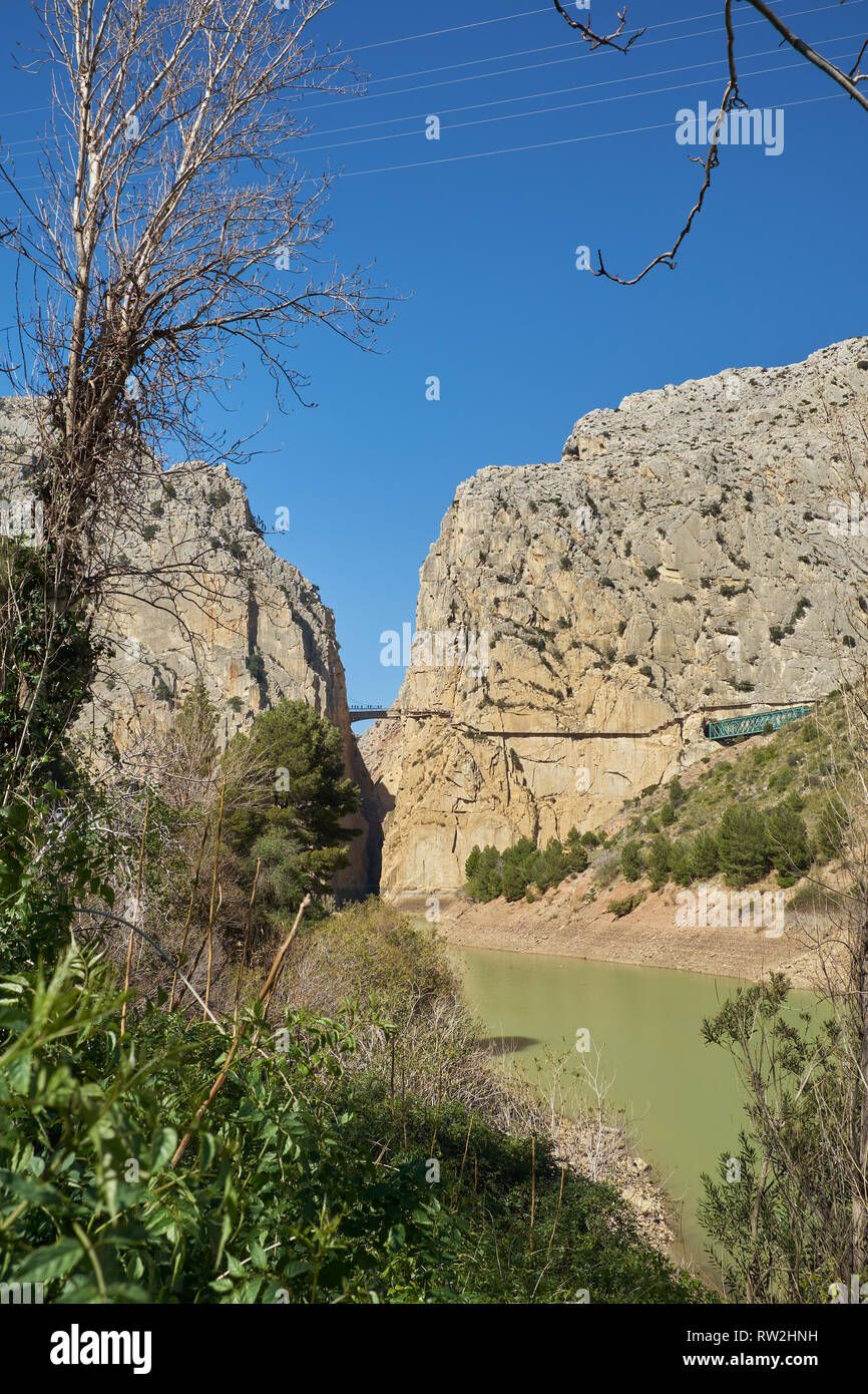 Desfiladero de los Gaitanes - Caminito del Rey. El Chorro, Málaga, Spain. Stock Photo