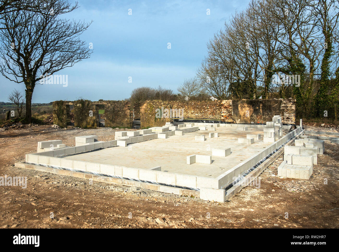 foundations and footings for new self build home house property - Stock Image