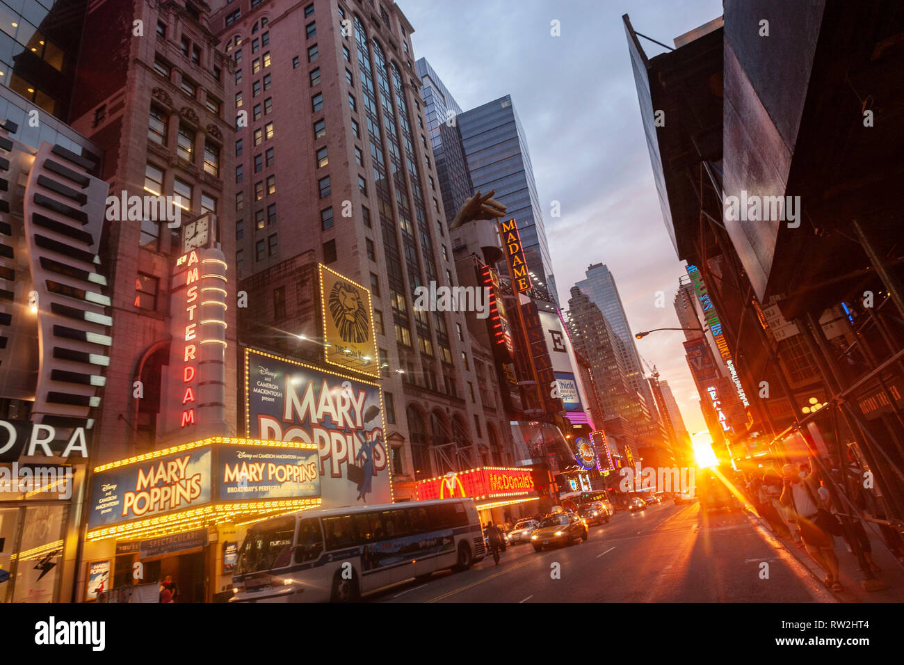 New Amsterdam Theatre in W 42nd St at sunset near Times Sq, Manhattan, New York City, USA - Stock Image