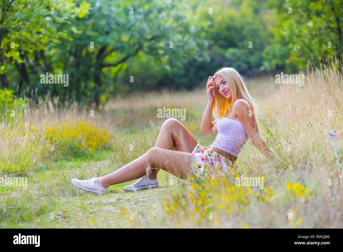 One pretty teen girl female person - Stock Image