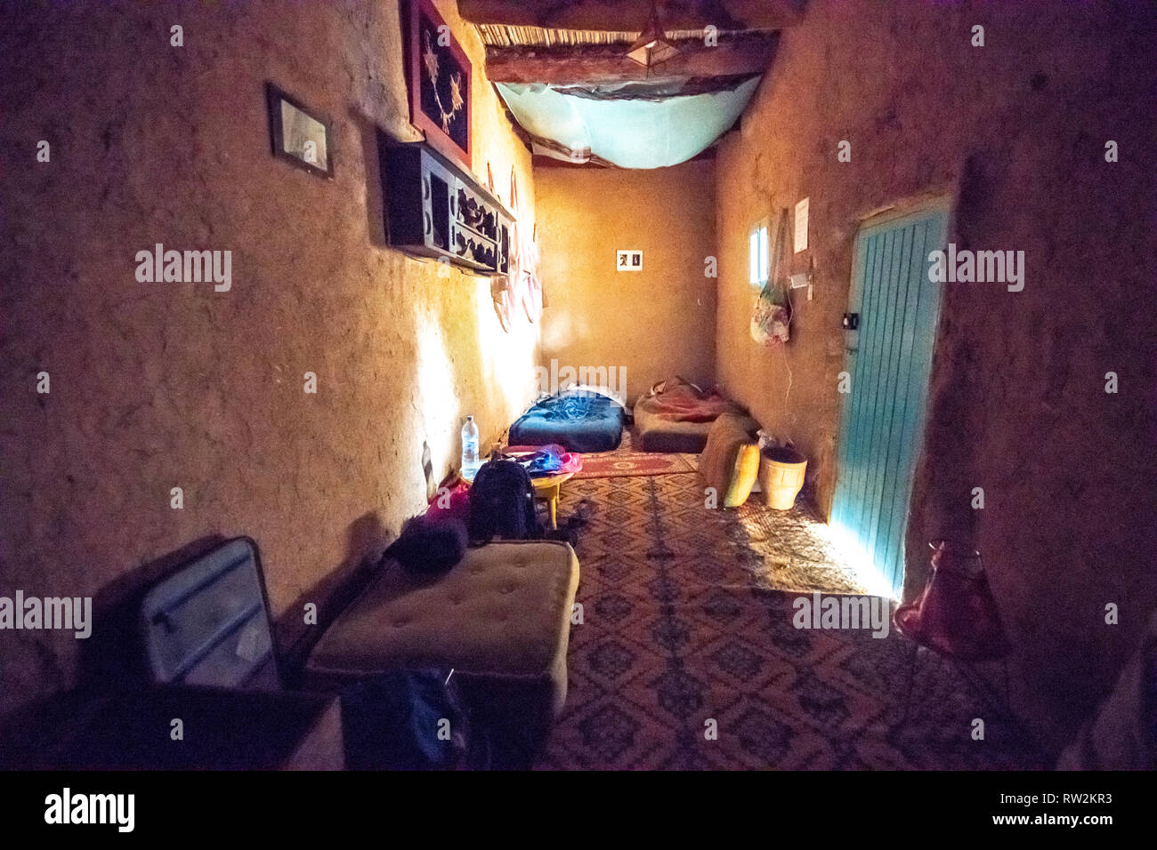 Interior Of Small Bedroom With Two Mattresses On Floor Of Traditional Mud Brick Built House In Tighmert Oasis Morocco Stock Photo Alamy