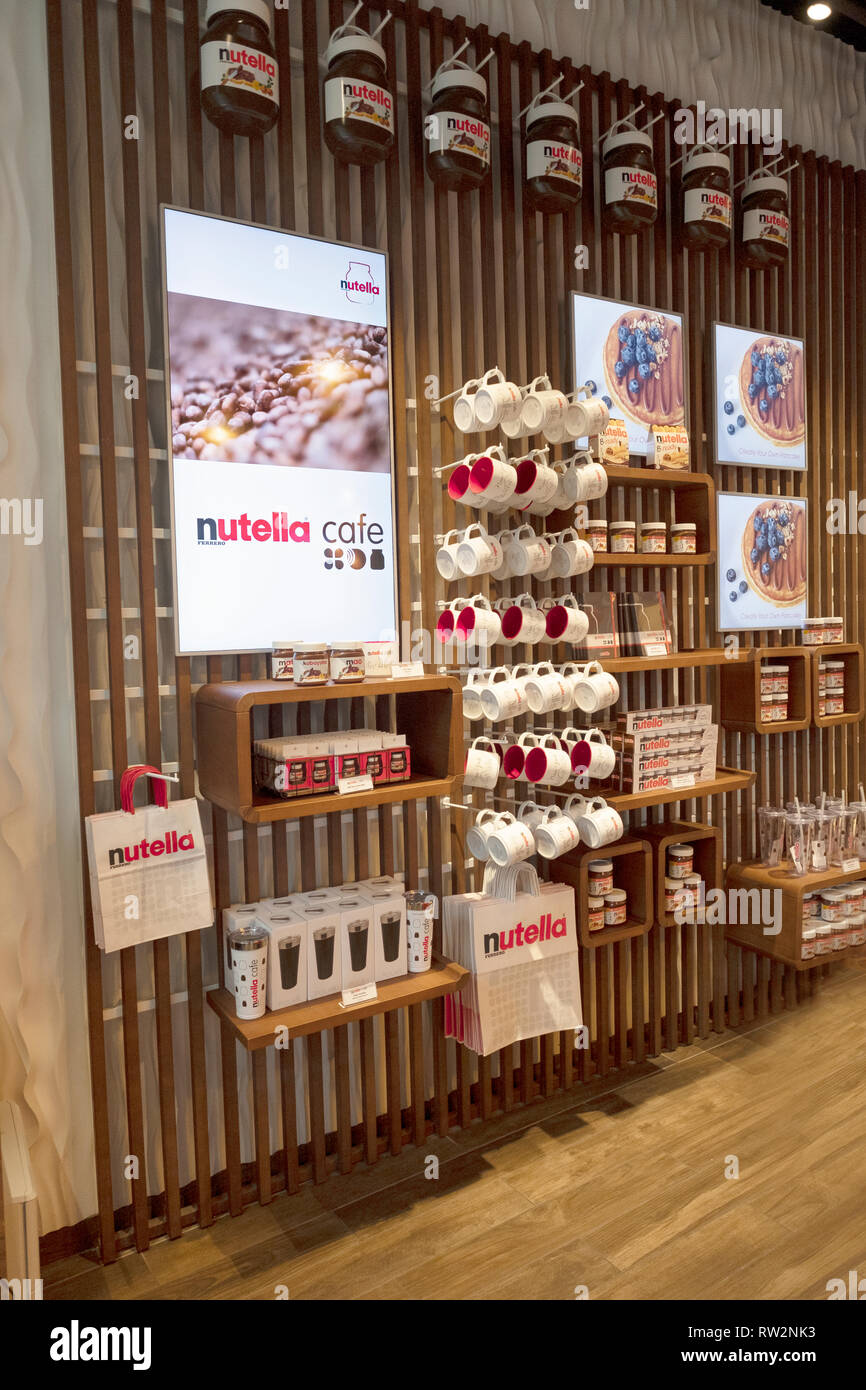 A wall inside the new NUTELLA CAFE on University Place near Union Square Park in lower Manhattan, New York City. Stock Photo