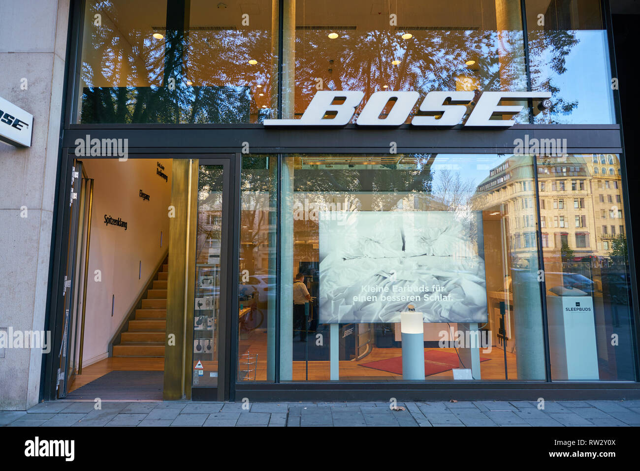 DUSSELDORF, GERMANY - CIRCA SEPTEMBER, 2018: entrance to Bose store in Dusseldorf. - Stock Image