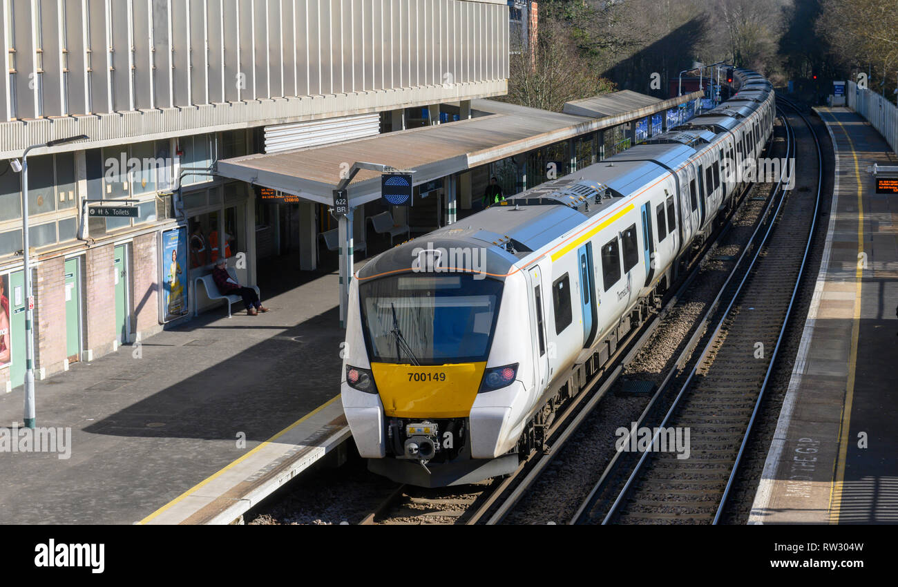 British Rail Class 700 train of the Thameslink at Crawley Railway Station, West Sussex, England, UK - Stock Image