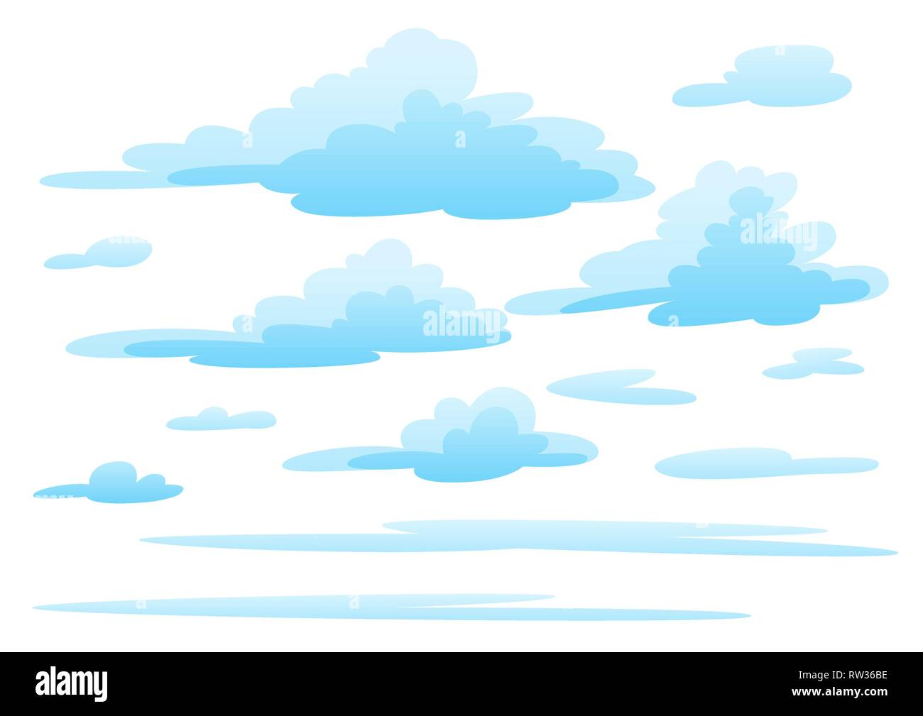 Illustration of clouds on white background. - Stock Image