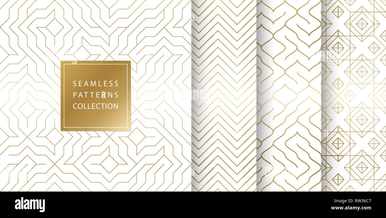 Geometric seamless golden pattern background. Simple vector graphic white print. Repeating line abstract texture set. Minimalistic shapes - Stock Image