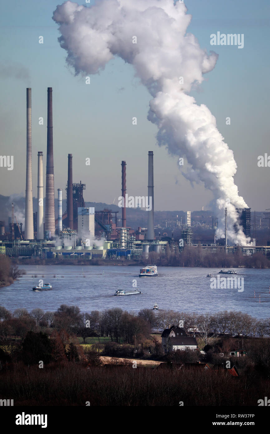 Duisburg, Ruhr area, North Rhine-Westphalia, Germany - ThyssenKrupp industrial landscape, panoramic view over the Rhine towards ThyssenKrupp Steel, he Stock Photo