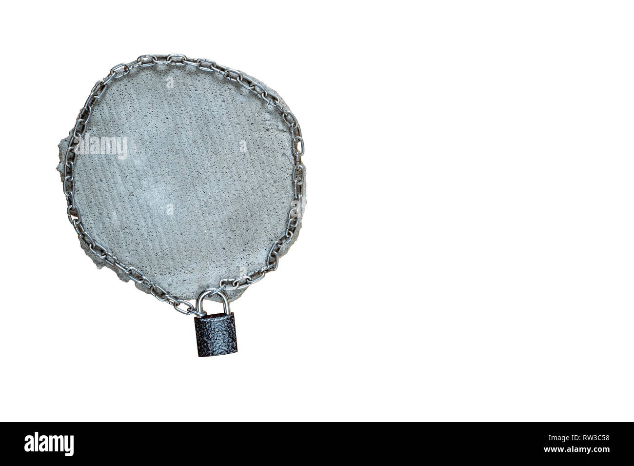 Closed lock of the fence with the square grey piece of concrete with a metal chain, isolated on a white background. The concept of security of ownersh - Stock Image