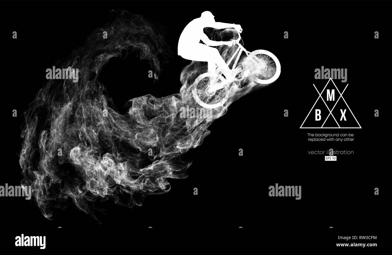 Abstract silhouette of a bmx rider on the dark, black background from particles. Bmx rider jumps and performs the trick. - Stock Image