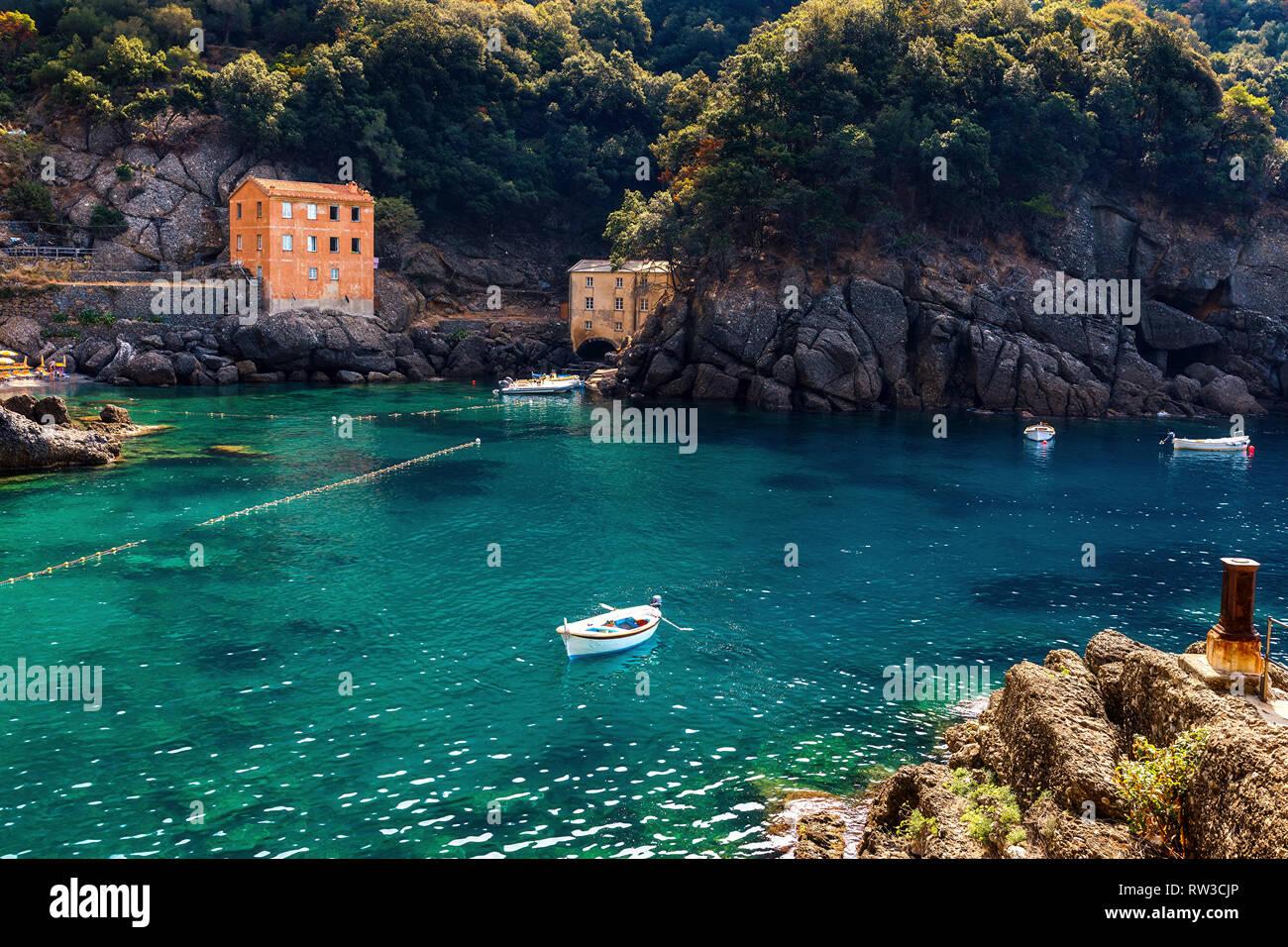 Small bay among rocks at San Fruttuoso, Liguria, Italy. - Stock Image