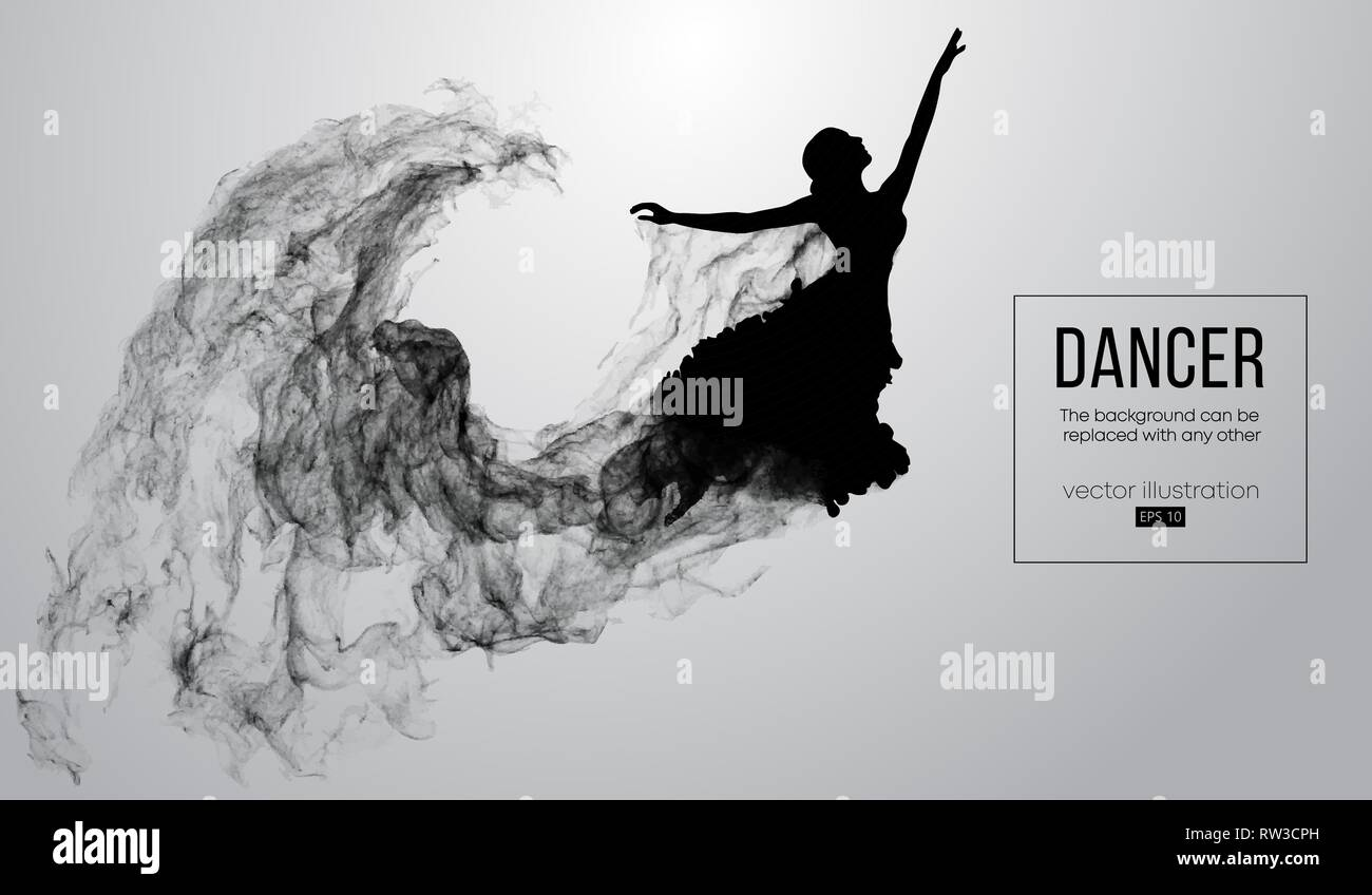 854bce20e Abstract silhouette of a dencing girl, woman, ballerina on the white  background. Ballet and modern dance.