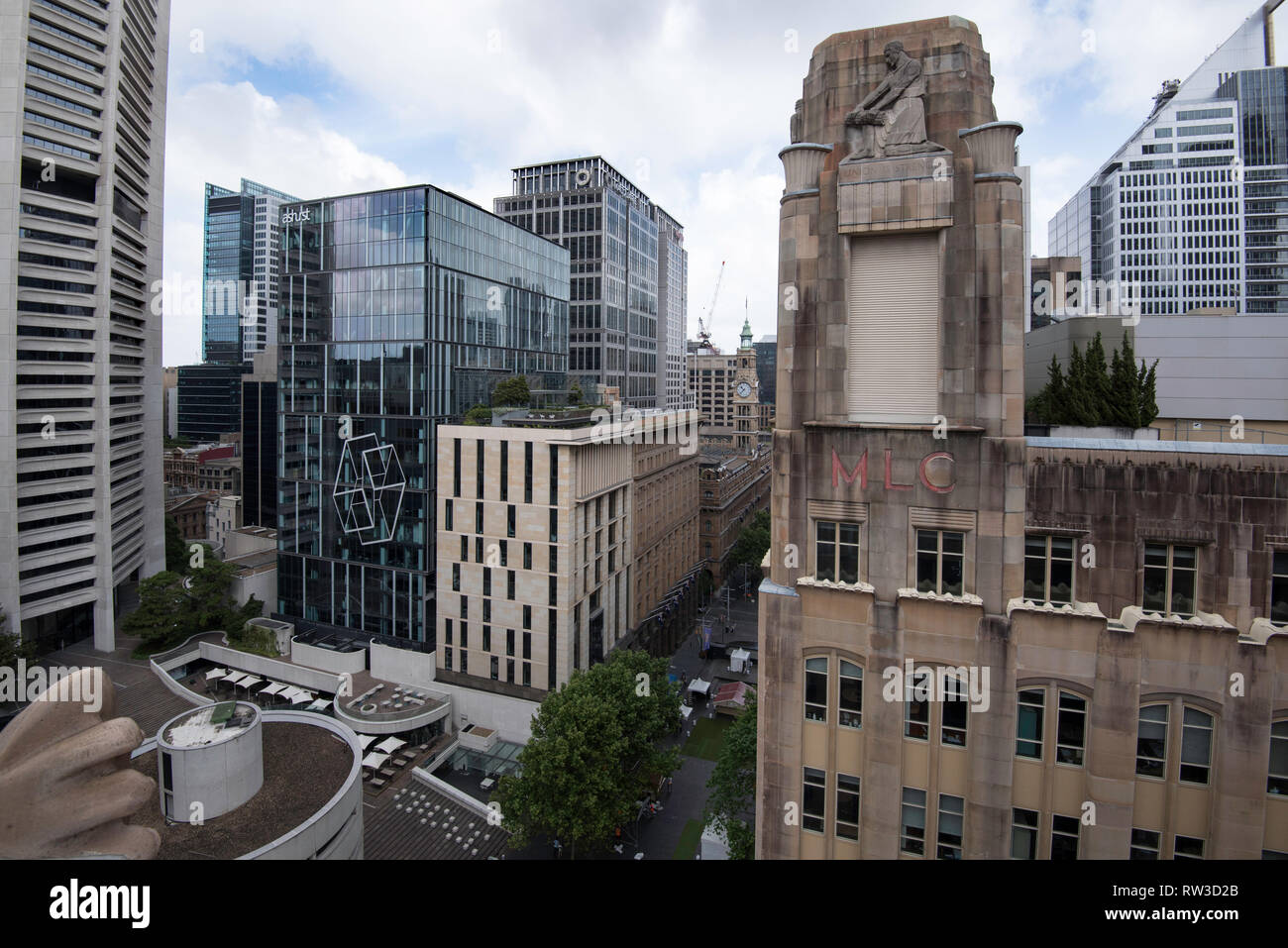 Looking down from above on the forecourt area of the Harry Seidler designed MLC tower and Martin Place towards the GPO clock tower, Sydney Australia - Stock Image