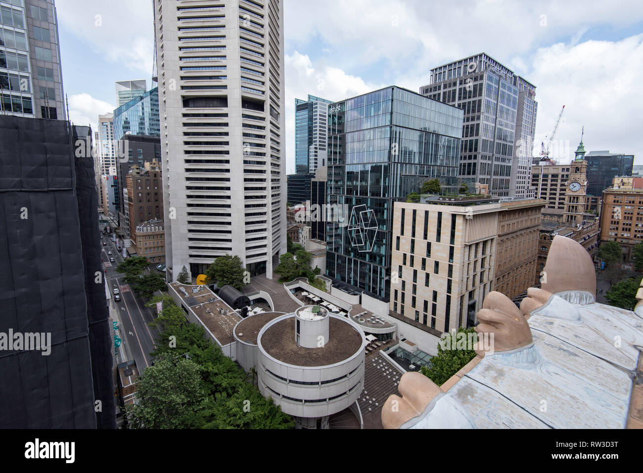 Looking down from above on the forecourt area of the Harry Seidler designed MLC tower in Martin Place, Sydney Australia - Stock Image