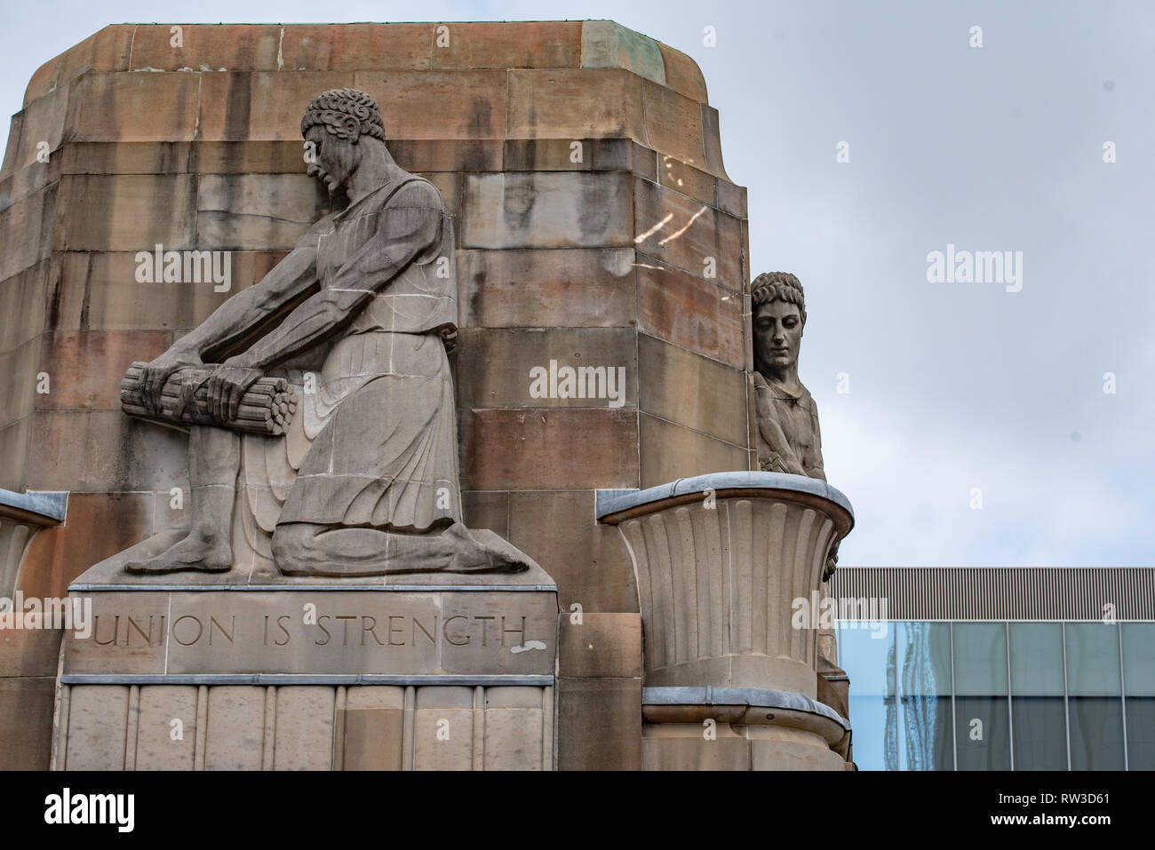 An ancient Egyptian type sculpture on the tower above the original MLC building at the corner of Martin Place and Castlereagh Street in Sydney, Aust. - Stock Image