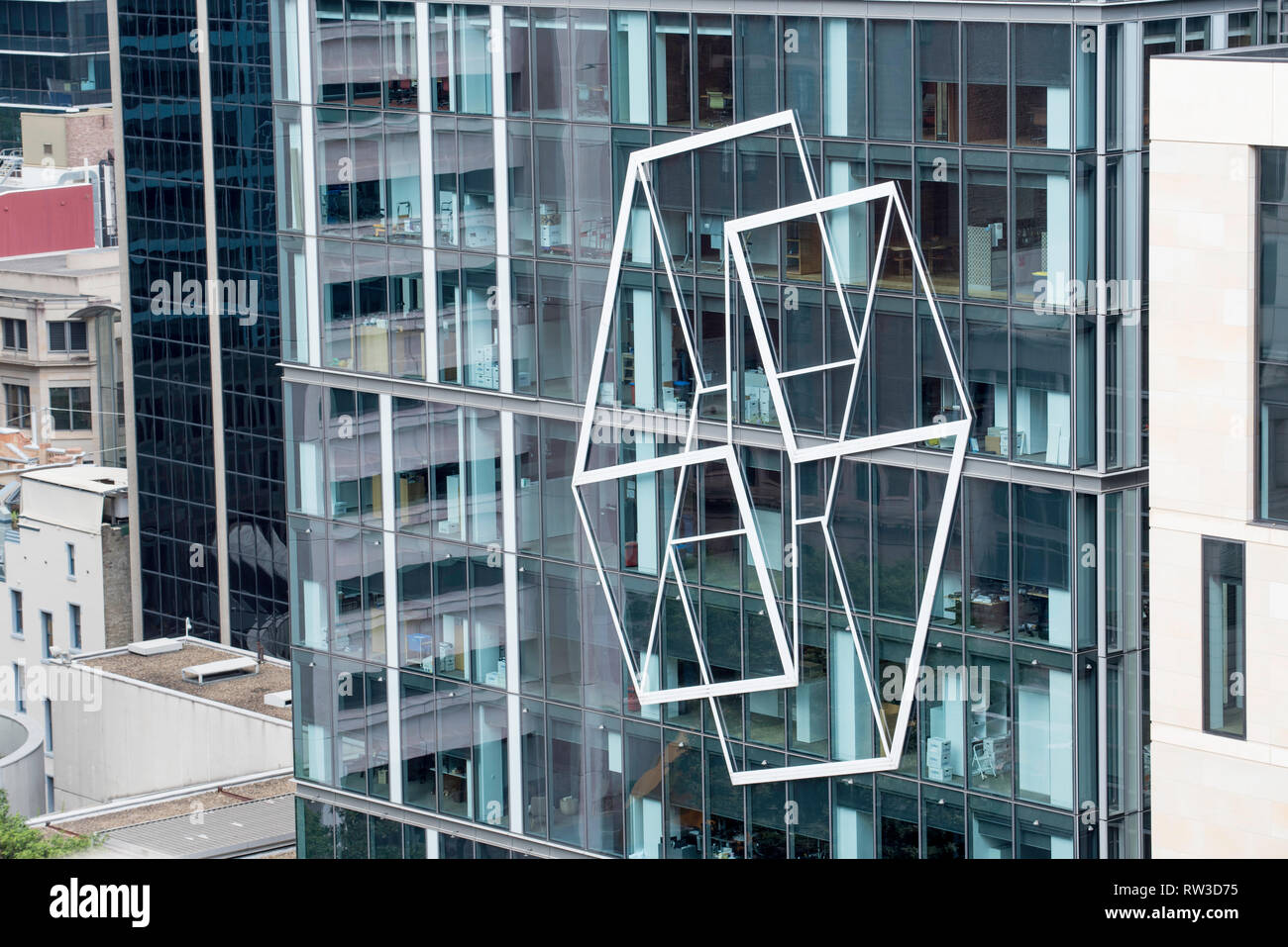 Artwork on a glass curtain wall on an East facing building in Sydney's Martin Place, Australia Stock Photo