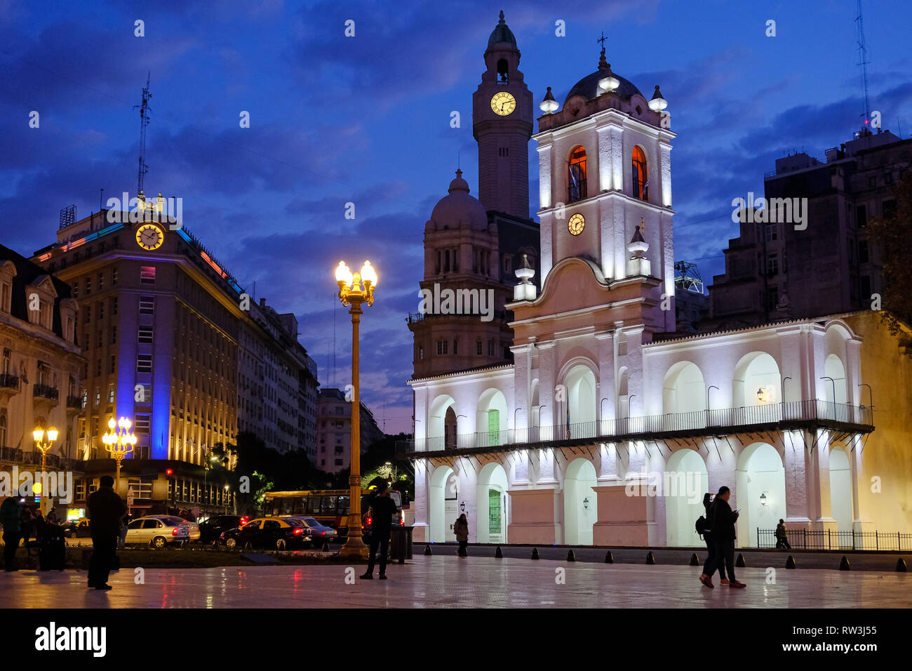 Buenos Aires Cabildo, the old town council, by night, Plaza De Mayo, main city square in Buenos Aires, Argentina - Stock Image