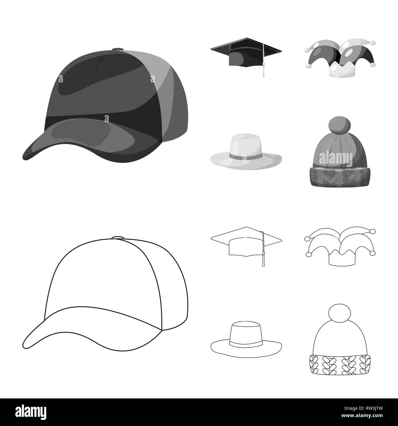 ec09fe05 Isolated object of clothing and cap sign. Collection of clothing and beret  vector icon for stock.