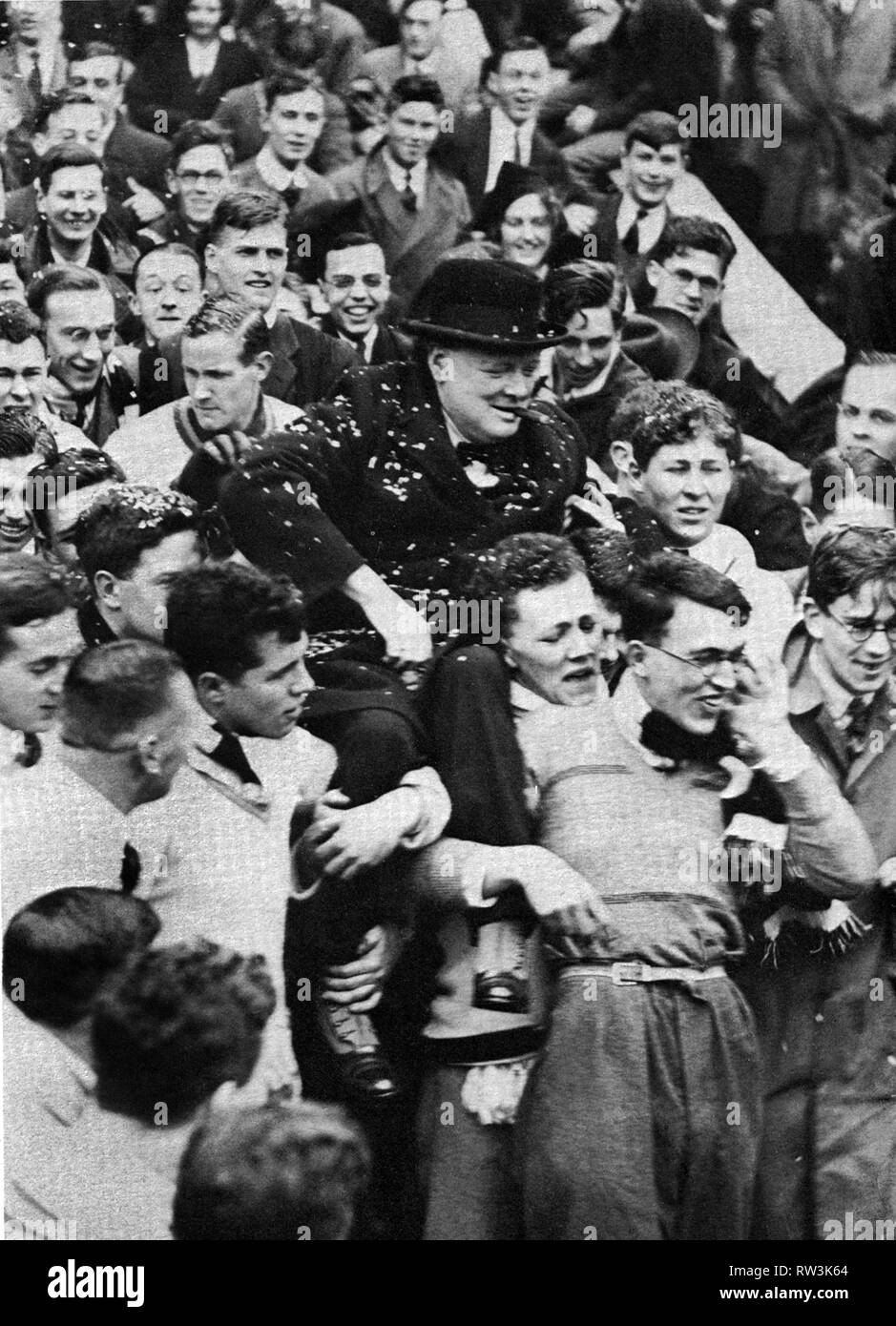Winston Churchill elected Chancellor of Bristol University in 1930.  Carried shoulder high by students. - Stock Image