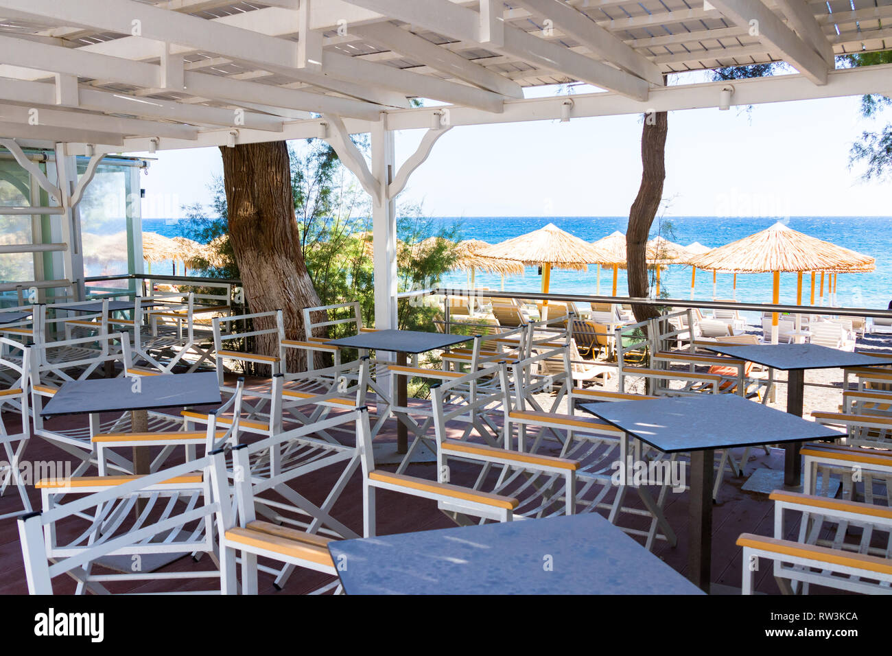 Restaurant Terrace In Front Of The Beach In Kamari On The Island Of Santorini Stock Photo Alamy