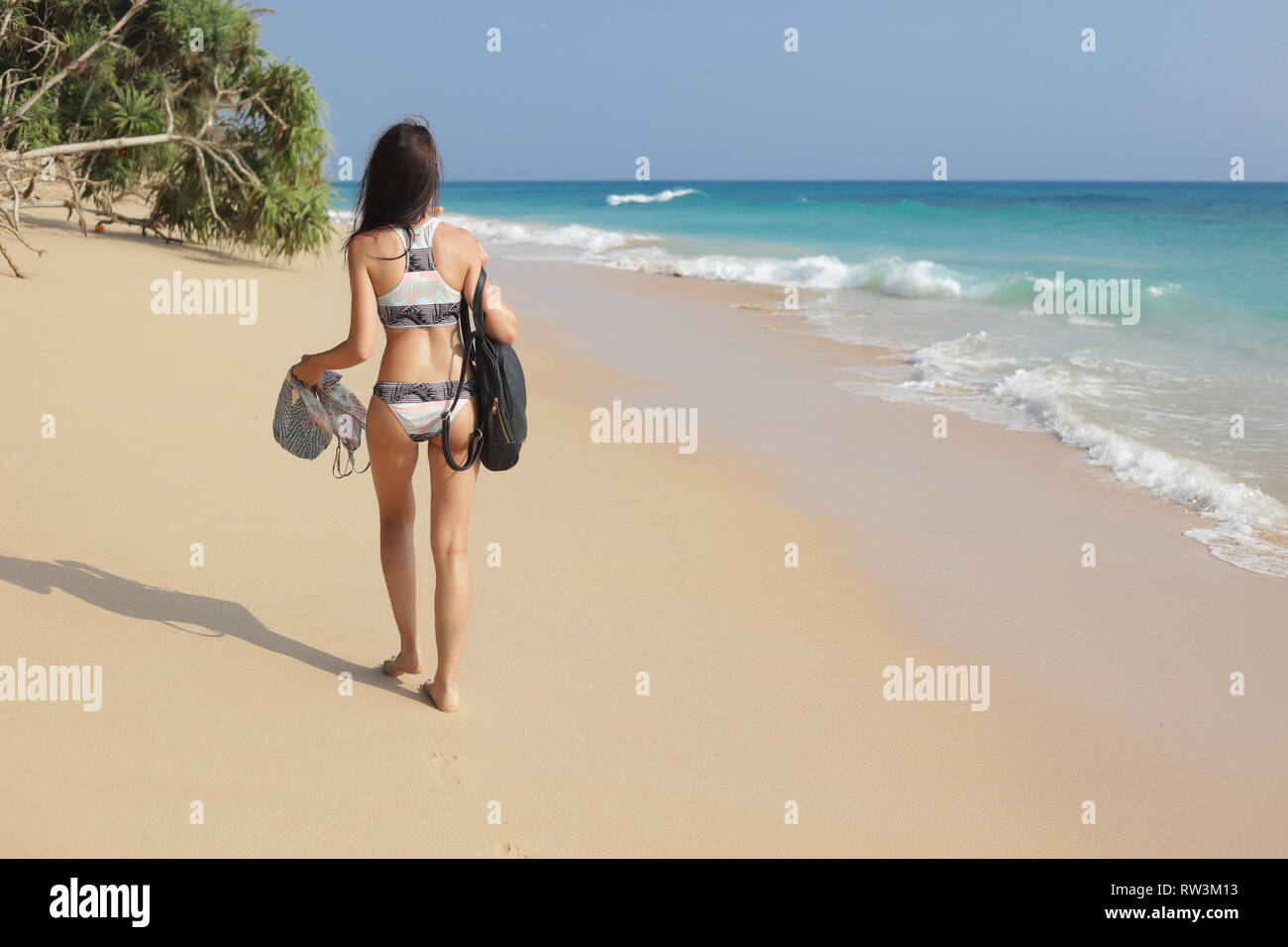 Back of the girl walking on the sand beach, holding her stuff in the hands, backpack on the shoulder. Wearing modern colorful bikini. Green high palm Stock Photo