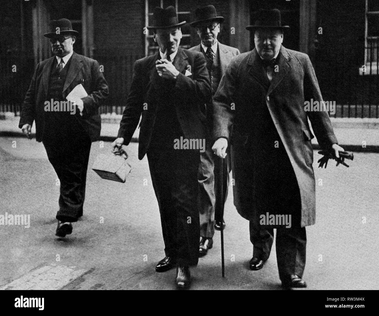 Winston Churchill with Labour Party members of his War Cabinet.  Left-Right,  Ernest Beviin, Clement Atlee and Arthur Greenwood - Stock Image