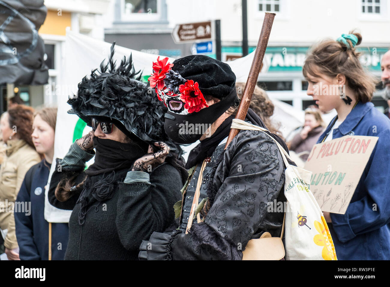 Protesters from Extinction Rebellion holding a demonstration about the ecological crisis. - Stock Image