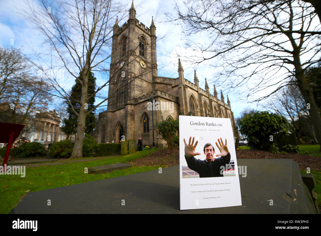 General view of the Order of Service ahead of the funeral service for Gordon Banks at Stoke Minster. - Stock Image