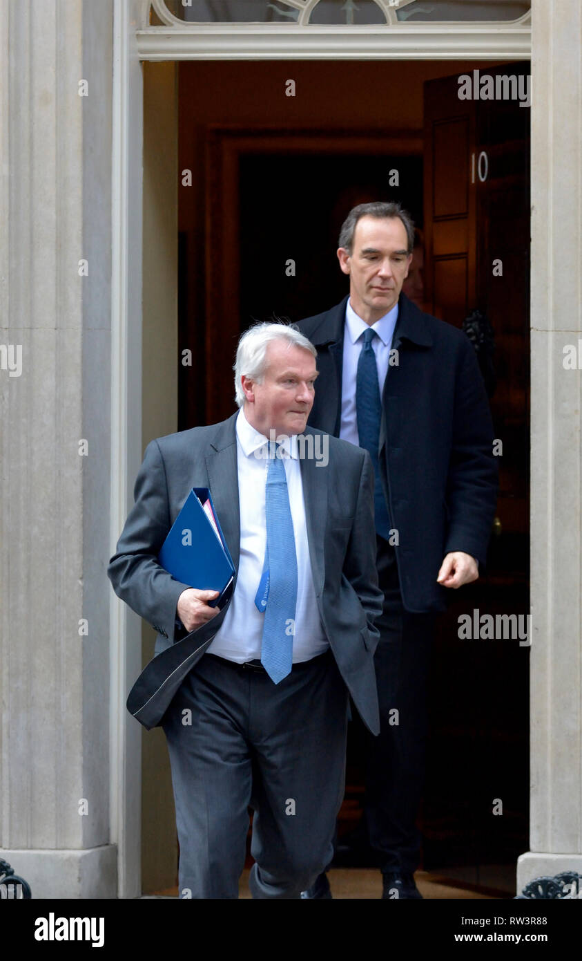 Ian Burnett / Baron Burnett of Maldon / Lord Burnett - Lord Chief Justice of England and Wales (in front) leaving 10 Downing Street 21st Feb 2019 - Stock Image
