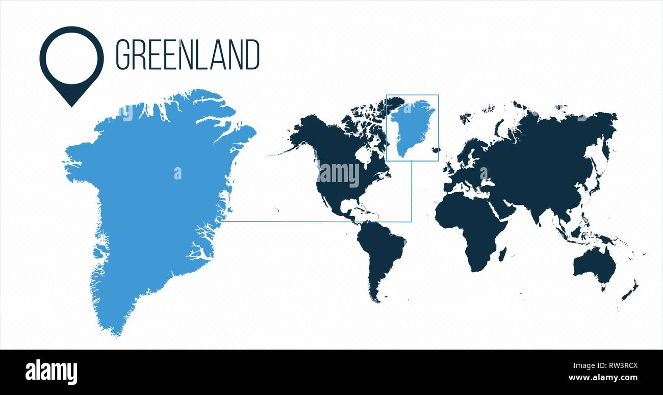 Greenland map located on a world map with flag and map pointer or ...