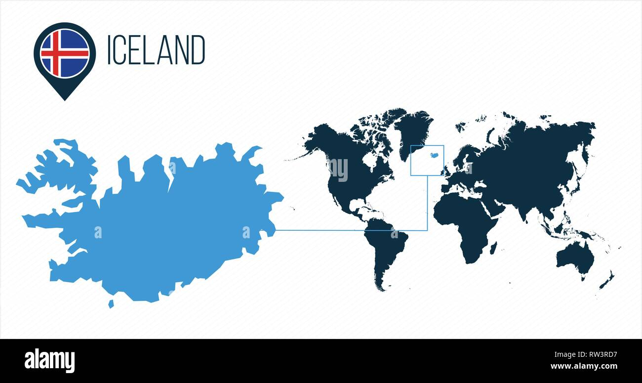 Iceland map located on a world map with flag and map pointer or pin ...