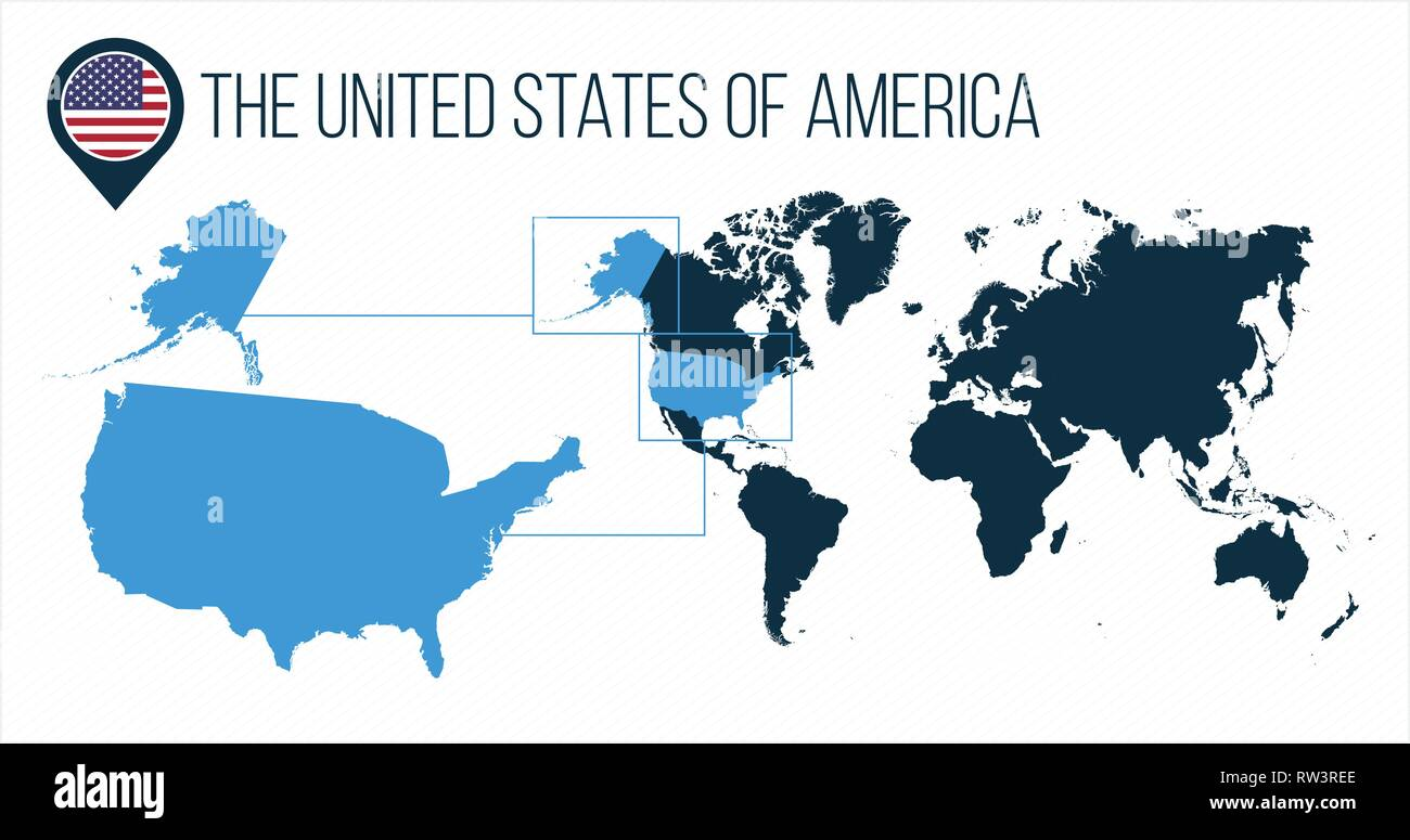 The United States of America USA map located on a world map ...