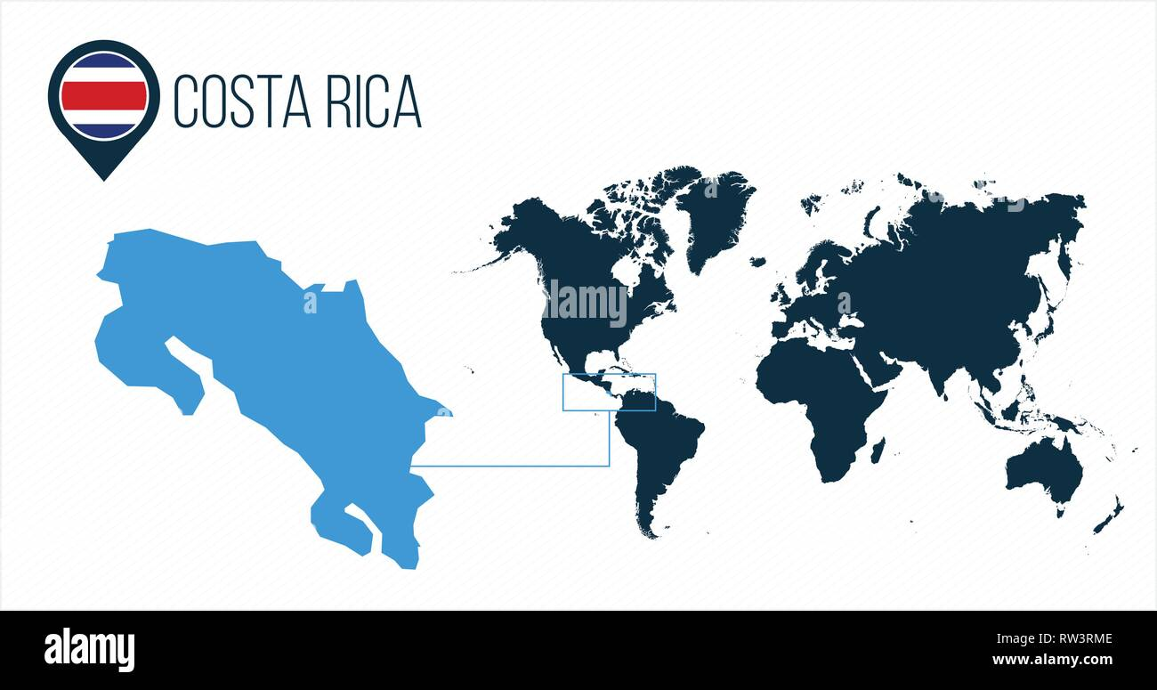 Costa Rica map located on a world map with flag and map pointer or ...