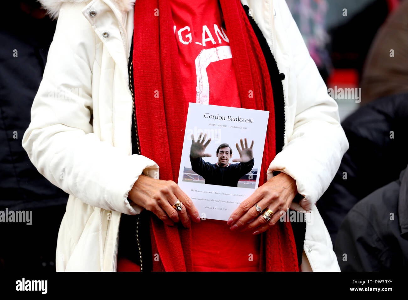 A general view of the Order of Service for the Funeral of Gordon Banks as fans await the funeral cortege arriving at the bet365 Stadium, Stoke. - Stock Image