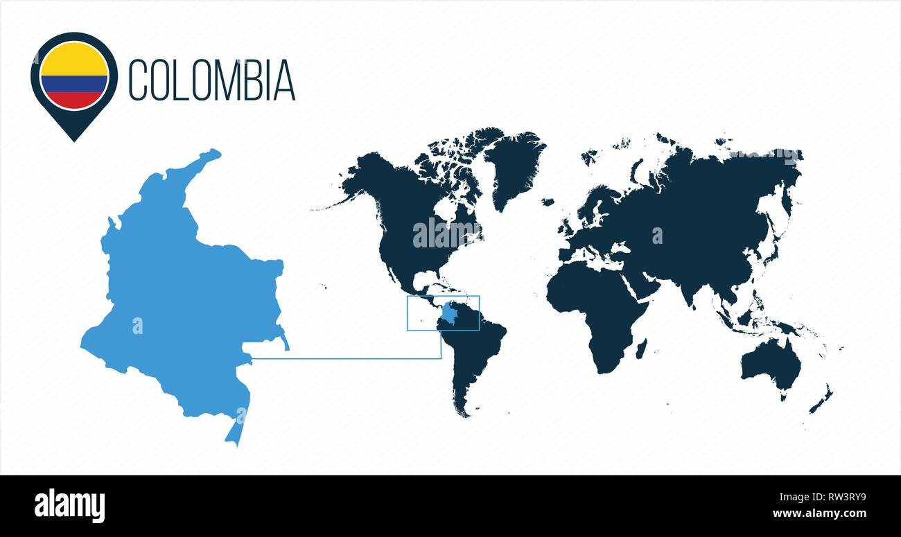 Colombia map located on a world map with flag and map ...