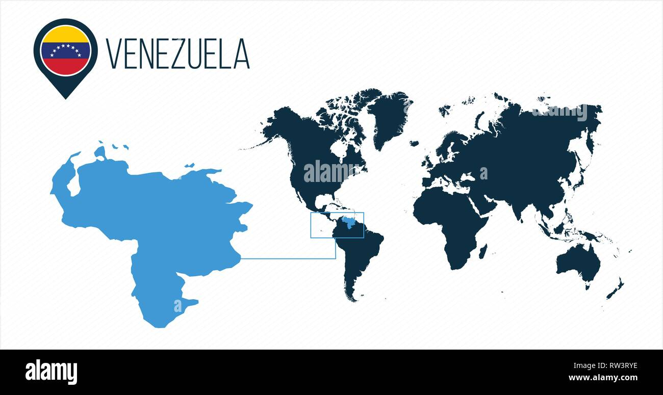 Venezuela Map Located On A World Map With Flag And Map Pointer Or
