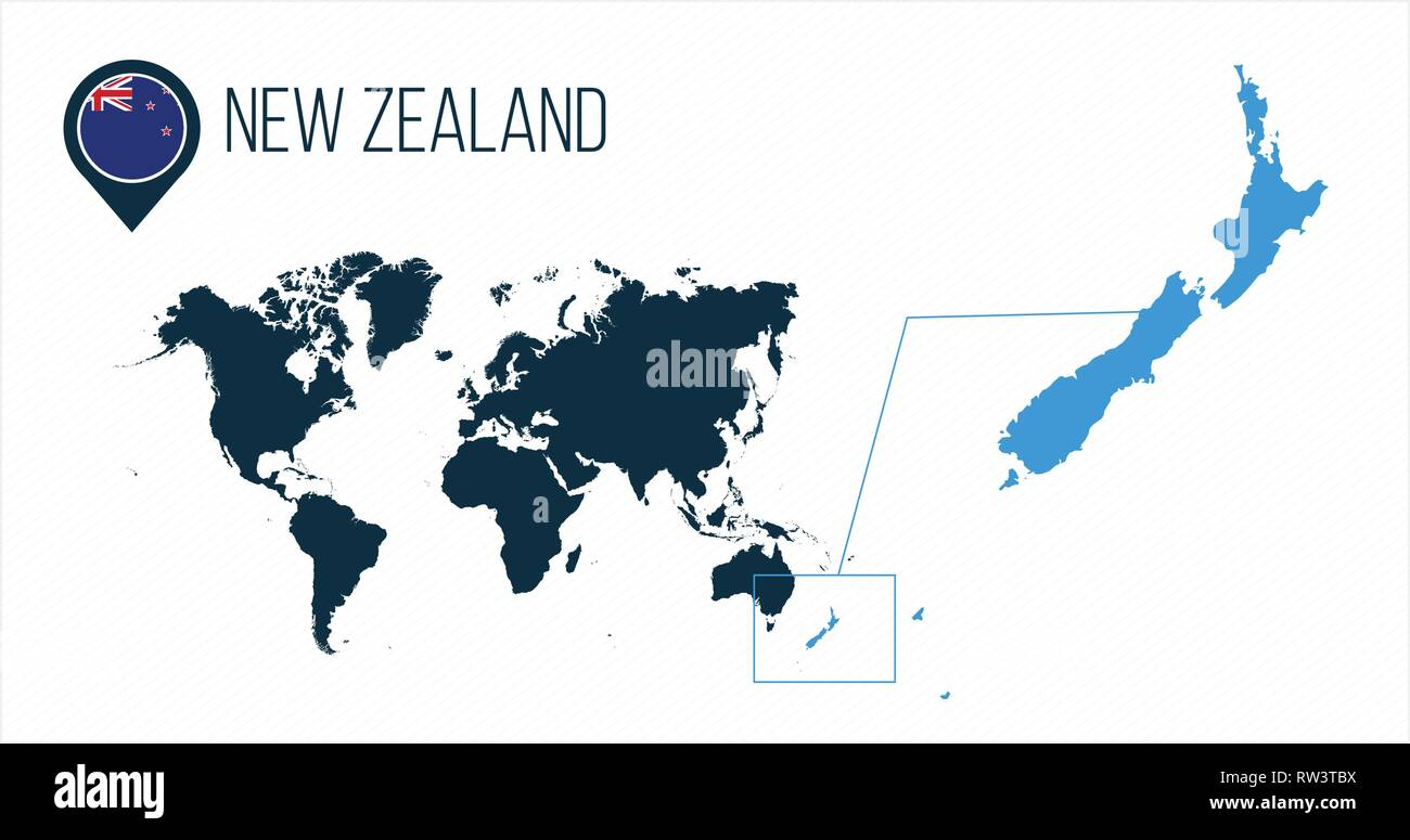 New Zealand Map On World.New Zealand Map Located On A World Map With Flag And Map Pointer Or