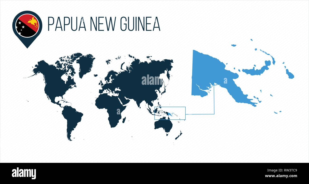 Papua New Guinea map located on a world map with flag and map ...