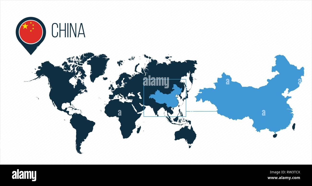 China map located on a world map with flag and map pointer or pin ...