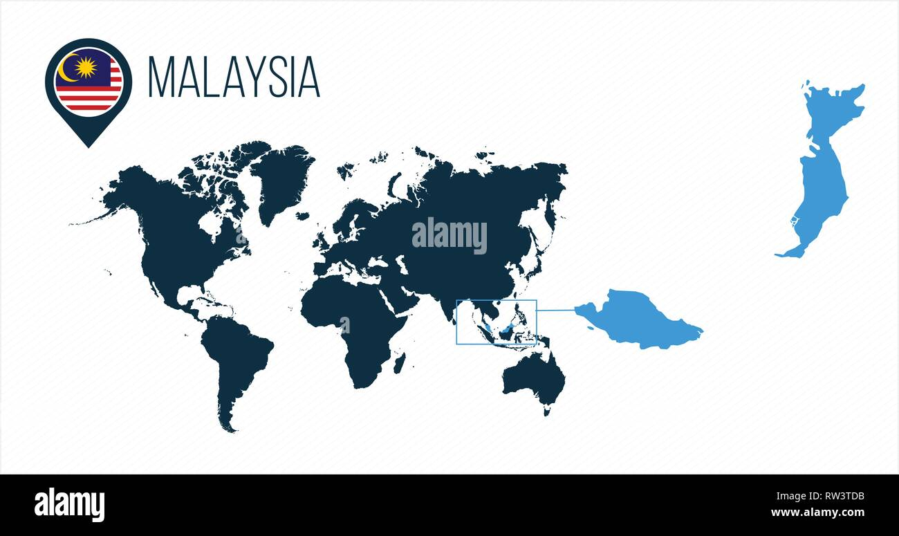 Malaysia map located on a world map with flag and map pointer or pin ...