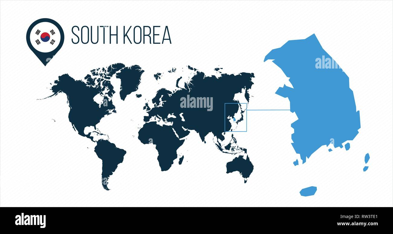South Korea map located on a world map with flag and map ...