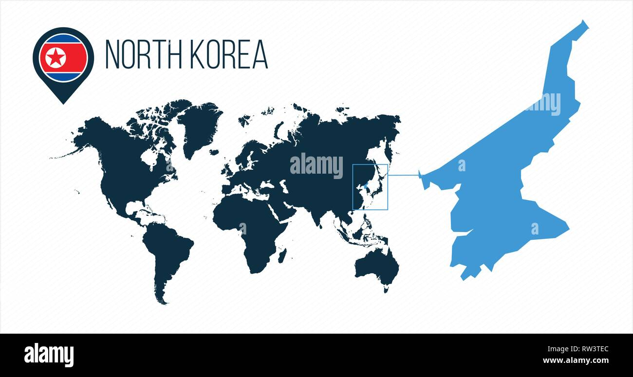 North Korea map located on a world map with flag and map pointer or ...