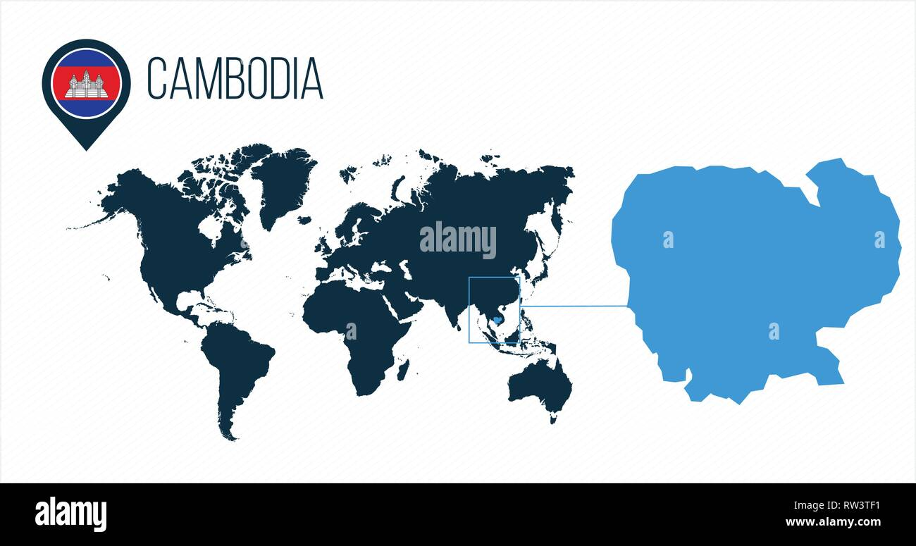 Cambodia map located on a world map with flag and map pointer or pin on