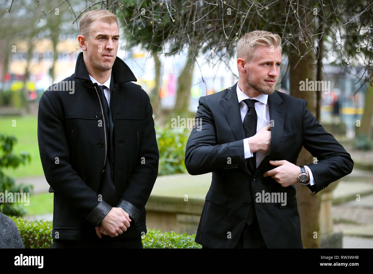 Burnley Goalkeeper Joe Hart (left) and Leicester City goalkeeper Kasper Schmeichel arrive for the funeral service for Gordon Banks at Stoke Minster. - Stock Image