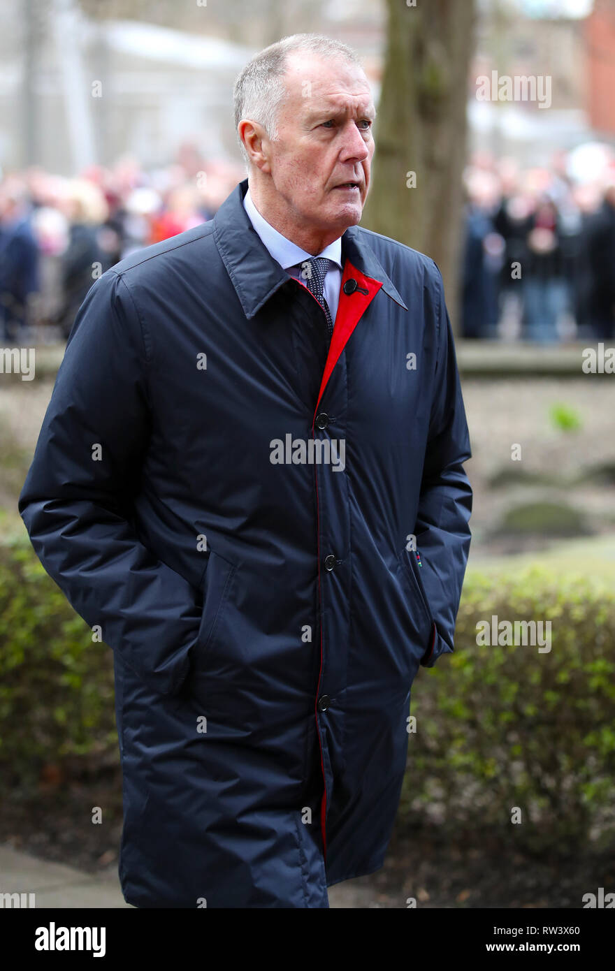 Retired footballer Sir Geoff Hurst arrives at the funeral service for Gordon Banks at Stoke Minster. - Stock Image