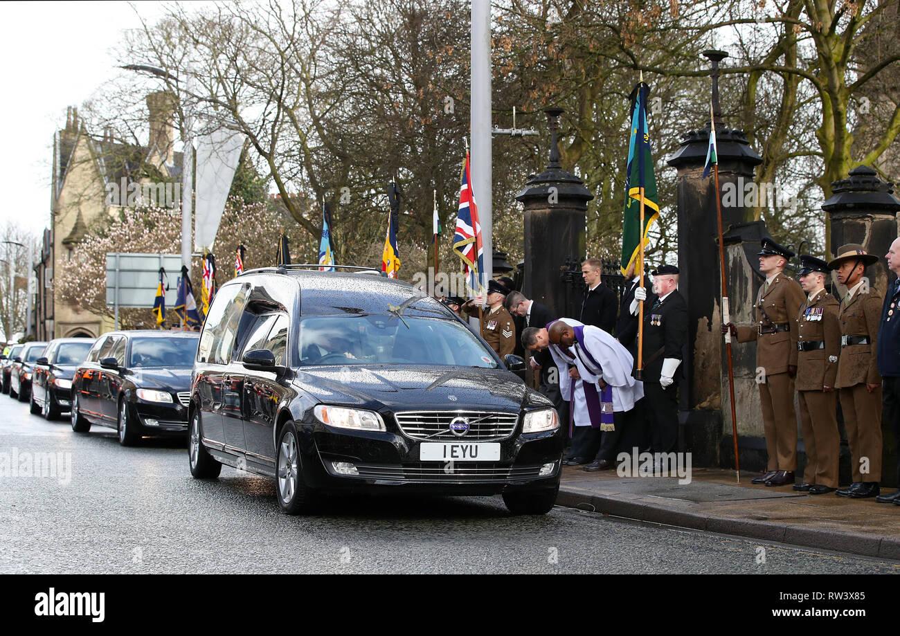 Goalkeeper Joe Hart during the funeral service for Gordon Banks at Stoke Minster. - Stock Image