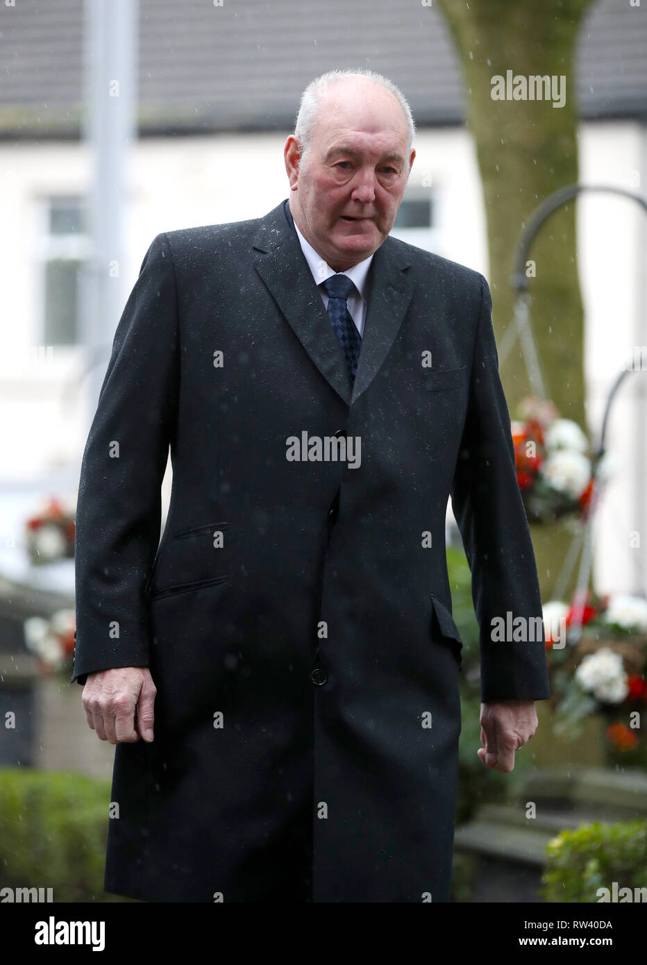 Retired goalkeeper Joe Corrigan arrives at the funeral service for Gordon Banks at Stoke Minster. - Stock Image