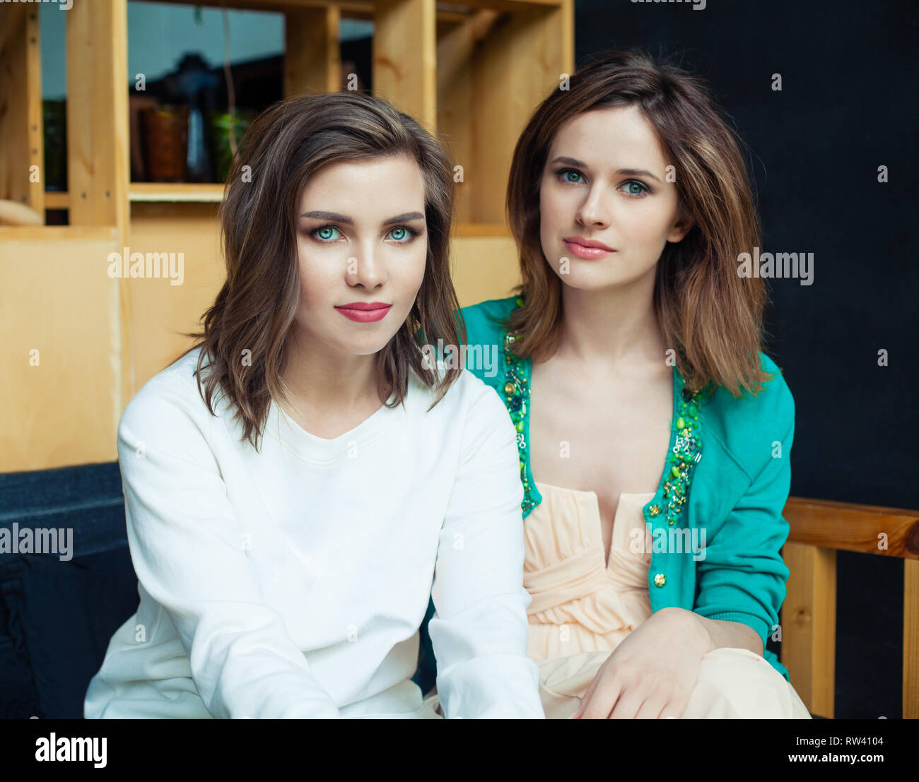 Young women in cafee, lifestyle portrait - Stock Image