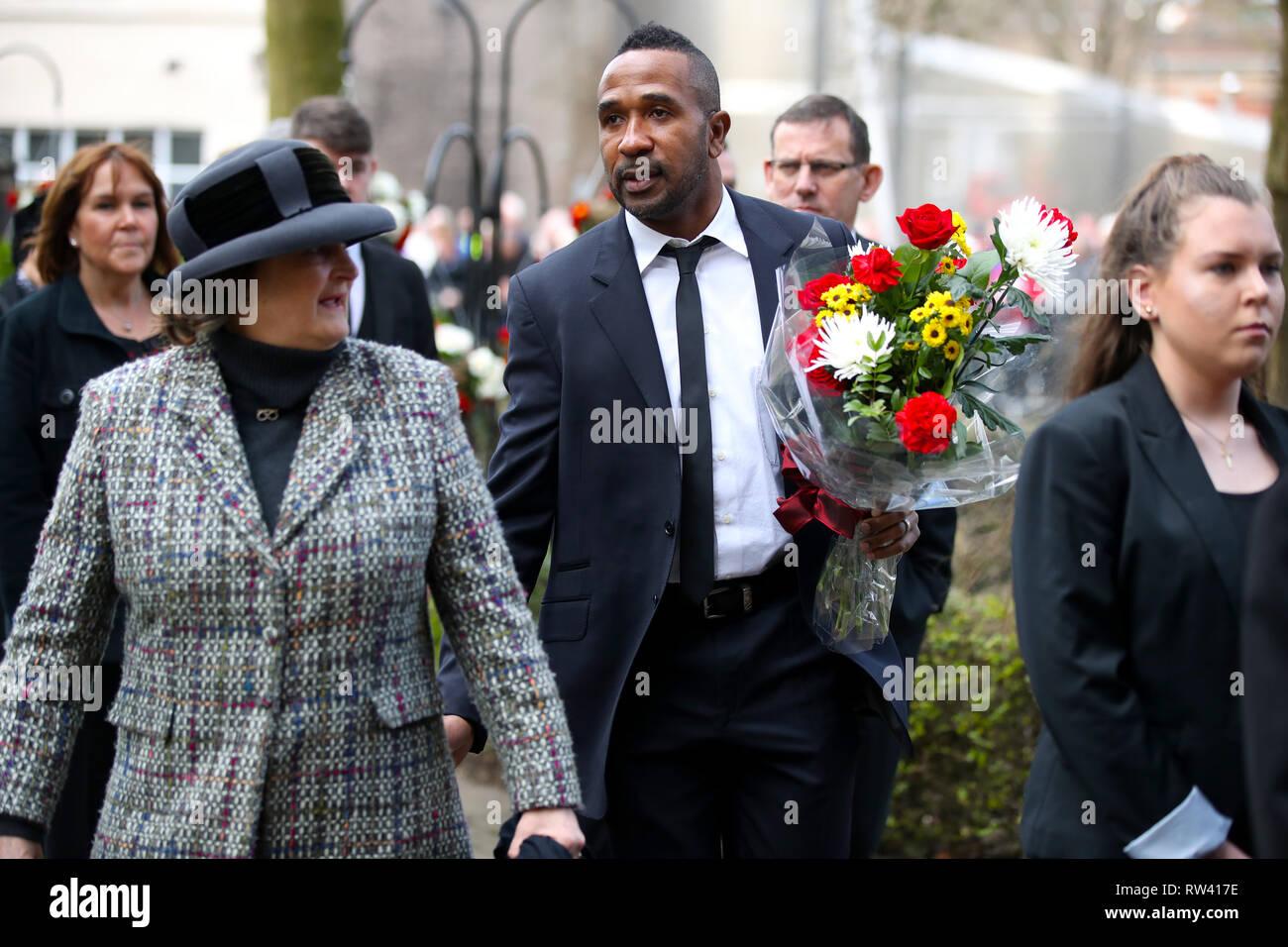 Footballer Ricardo Fuller during the funeral service for Gordon Banks at Stoke Minster. - Stock Image