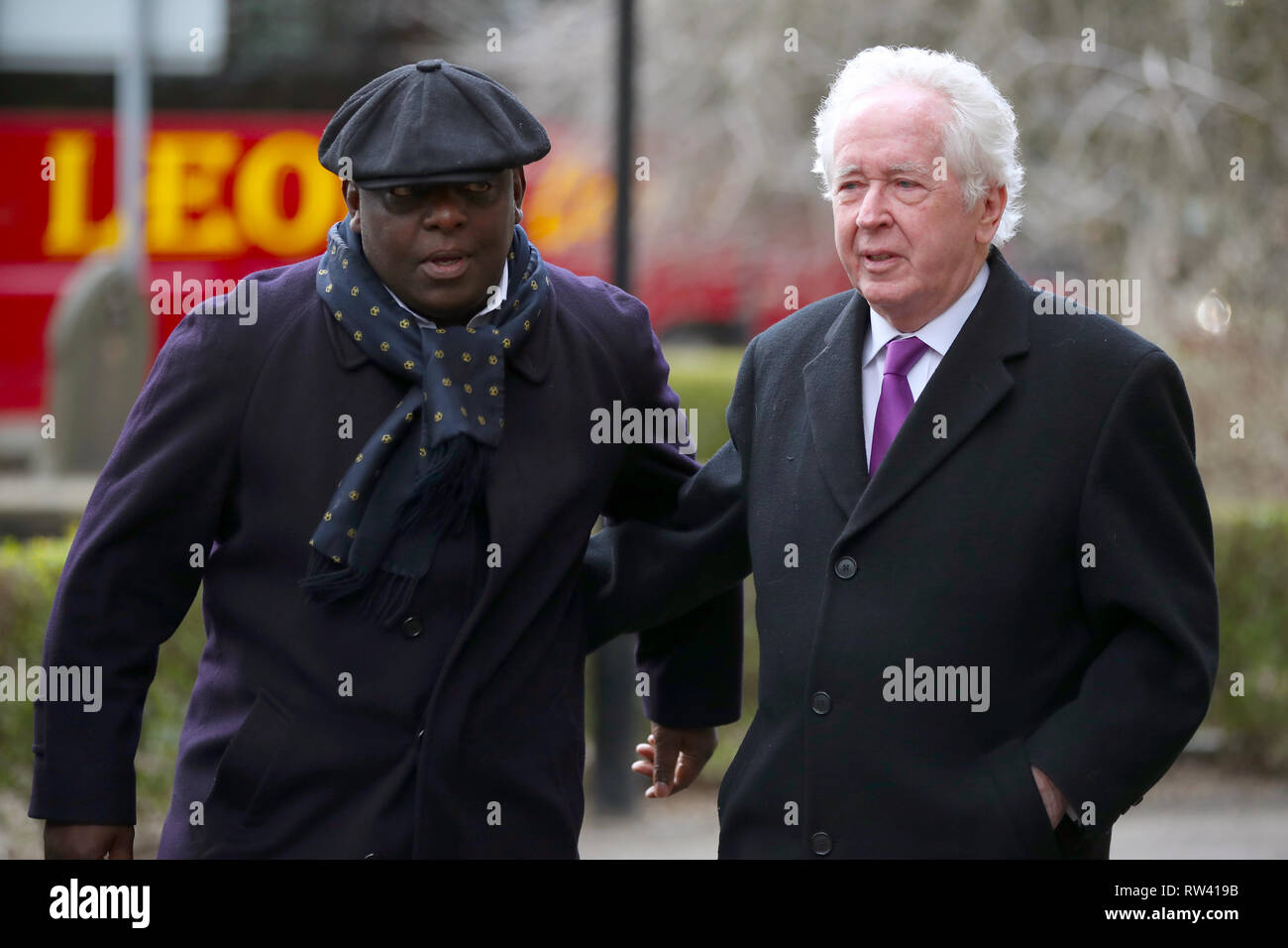 Retired Stoke City footballer Garth Crooks (left) and Sports journalist Jeff Powell arrive at the funeral service for Gordon Banks at Stoke Minster. - Stock Image